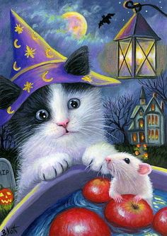 ACEO original kitten cat mouse Halloween apples moon house painting art | eBay