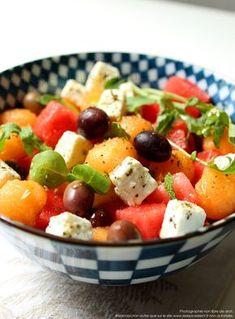 Salade de pastèque, feta, melon et olives noires