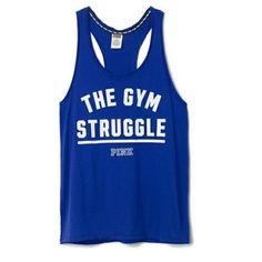 VS Gym Struggle Tank. Soft comfy racerback tank. Rolled frayed edges. Cobalt blue. NWOT New without tags