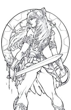 XENA Warrior Princess – PANT – Egli – Inks by SurfTiki on DeviantArt - bridge. Anime Art Fantasy, Fantasy Girl, Adult Coloring Book Pages, Coloring Books, Colouring, Arte Game Of Thrones, Illustration Fantasy, Xena Warrior Princess, Sexy Drawings