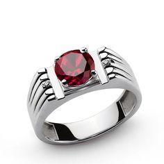 Men's Sterling Silver Ring with Red Ruby Gemstone and Natural Diamonds #mensbracelet #giftforhim #gem #mensfashionpost #jewelry #mensjewelryfashion #mensjewelryshop