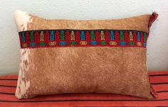 Hair on Cowhide Decorative Pillow, Leather Pillow, Brindle Hide by GretelStoudt on Etsy
