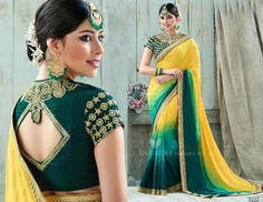 Ethnic Indian Bollywood Wedding Designer Party Saree Unstiched Blouse Freeship #Shoppingover #Saree