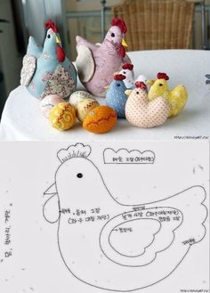Hen and eggs crafting supplies, fretwork – Spring crafts – hen with eggs, easter DIY, wood easter chicken decor, easter crafts for teens … - Felt Crafts, Fabric Crafts, Sewing Crafts, Diy And Crafts, Fabric Animals, Fabric Birds, Easter Arts And Crafts, Craft Projects, Sewing Projects