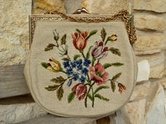 Vintage Needlepoint Petit Point Floral Purse, Quality Tan Needlepoint & Petit Point Floral Purse by MyFrenchTexas on Etsy
