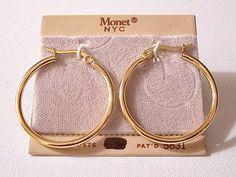 Monet Big Tube Hoops Pierced Earrings Gold Large Surgical Steel Post