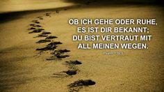 Ob ich gehe oder Ruhe, es ist dir bekannt, du bist vertraut mit all meinen Wegen. Psalm 139,3