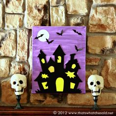 Attach a cutout house (or any other spooky shape) to a canvas and let your child paint to her heart's content. Smaller tots can add stickers or glue on pre-cut bats to make art that's worthy of hanging on the wall. #Halloween #Craft