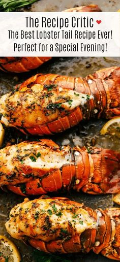 The Best Lobster Tail Recipe Ever is a decadent dinner made with large lobster tails smothered with a buttery garlic herb sauce then broiled under high heat making these lobster tails tender and juicy. The ultimate indulgence! The Best Lobster Tail Best Lobster Tail Recipe, Baked Lobster Tails, Broil Lobster Tail, Cajun Lobster Tail Recipe, Recipe For Broiled Lobster Tails, Baked Lobster Recipes, Cooking Lobster Tails, Lobster Dishes, Salads