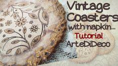 DIY Decoupage: Μεταλλικά σουβέρ! Vintage Coasters! ArteDiDeco [CC] Decoupage Vintage, Coasters, Napkins, Decorative Plates, Tray, Youtube, Projects, Crafts, Ideas