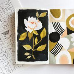 Ideas For Flowers Black Background Painting Floral Patterns Black Background Painting, Flowers Black Background, Background Drawing, Background Colour, Art And Illustration, Kunstjournal Inspiration, Sketchbook Inspiration, Arte Sketchbook, Disney Kunst