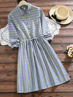 Summer new work forest girl polo color long sleeve west aperture stripe adult cute dating dress Prom Dress Shopping, Online Dress Shopping, Casual Dresses, Casual Outfits, Fashion Dresses, Ladies Day Dresses, Korean Fashion, Cool Outfits, Designer Dresses
