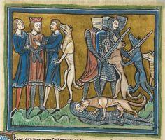 Animal detail from medieval illuminated manuscript - British Library Royal MS 12 F XIII - c 1230-14th century - f30v