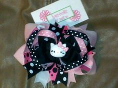 Hello Kitty stacked Boutique Hair bow 55 inch by HairbowsNMore, $10.99