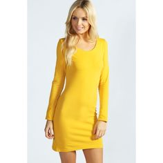 Boohoo Basics Camille Long Sleeve Jersey Bodycon Dress ($16) ❤ liked on Polyvore featuring dresses, mustard, bodycon dress, long sleeve bodycon dress, long sleeve cotton dress, cotton jersey dress and yellow mini dress