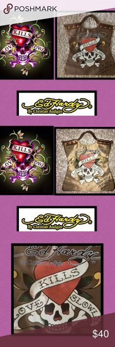 🆕Ed Hardy🖤☠️❤️Love Kills Slowly SatinTote It is said,what gives us great joy❤️will also give us great pain💔 ❤️Until you have seen someones darkness you dont know who they are🖤until you have forgiven someones darkness❤️you dont know what love really is❤️Corinthian's 13:13❤️Faith🙏🏼Hope🖤Love❤️The Greatest of all being Love💘💞💕 Ed Hardy by Christian Audigier🖤☠️❤️ ❤️riveted curved handle 🖤Gold Ball detailing ☠️inside zip pocket 🖤wall pocket ☠️original packaging 🖤high sheen satin…