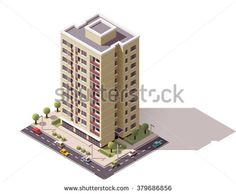 Vector Isometric icon or infographic element representing city or town building with cars, tree and street elements