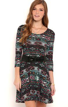 Deb Shops Multicolor Navajo Print Skater Dress with Three Quarter Length Sleeves $12.50
