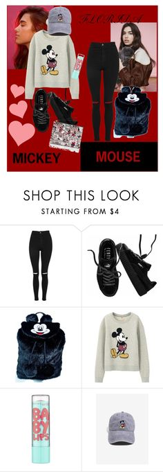 """""""Mickey Mouse"""" by floridanuha ❤ liked on Polyvore featuring Topshop, Puma, Lazy Oaf, Uniqlo, Maybelline and Kate Spade"""