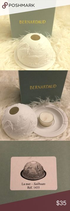 Bernardaud Votive Light Brand New with original Box and candle inside Bernardaud Sailboats (La mer). Parfums de Maison Bernardaud Other