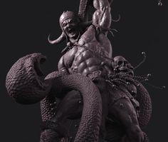 """ The conan Barbarian fighting with a Cobra"", amruth raju on ArtStation at https://www.artstation.com/artwork/kZ6zd"