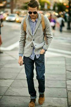 Gingham shirt, gray cardigan, dark jeans, desert boots