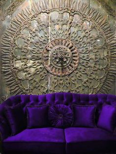 Door in antique shop in Cukurcuma - and what a gorgeous contrast to that purple couch. I'd love to find such a dramatic architectural element to define my living room. Purple Couch, Purple Velvet, Home Interior, Interior And Exterior, Purple Interior, Purple Furniture, Cosy Home, European Home Decor, Sweet Home
