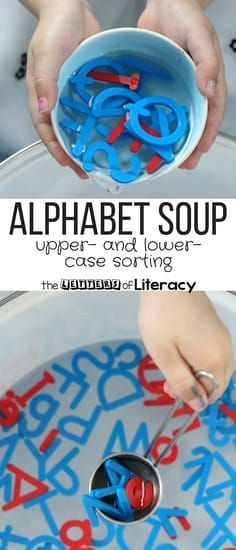 """Practice letter recognition with this fun and engaging """"alphabet soup!"""" Perfect for a water table and fun sensory play in preschool and kindergarten. #letters #alphabet #alphabetsoup #literacy #wordwork #kindergarten #preschool #prek Alphabet Activities Kindergarten, Preschool Letters, Letter Activities, Kids Learning Activities, Preschool Activities, Summer Activities, Teaching Resources, Educational Activities, Water Theme Preschool"""