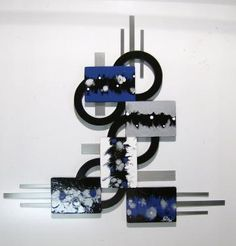 Blue Abstract Wood and metal Wall Scvulpture, Modern Contemporary unique Wall Decor by DivaArt69 for $149.99