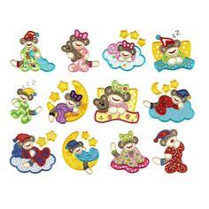 Slumber Sock Monkey Applique Embroidery Designs | Designs by JuJu