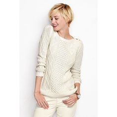 Lands' End Lofty Blend Lurex Aran Sweater ($40) ❤ liked on Polyvore featuring tops, sweaters, chunky cable knit sweater, pullover sweater, aran sweater, cable knit pullover sweater and lightweight sweaters
