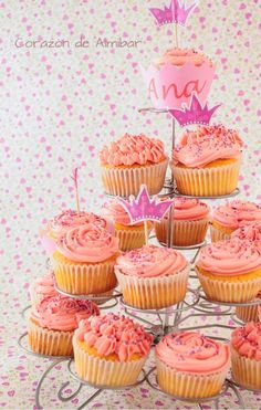 Cupcakes con buttercream sabor algodón de azúcar