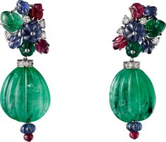 CARTIER. Earrings - white gold, carved emeralds, rubies and sapphires, melon cut sapphire and emerald beads, ruby beads, brilliant-cut diamonds. #Cartier #CartierMagicien #HauteJoaillerie #FineJewelry #CarvedStones #TuttiFrutti #Emeralds #Rubies #Sapphires #Diamonds