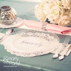Place setting idea using clear plastic plates and paper doilies as place cards…