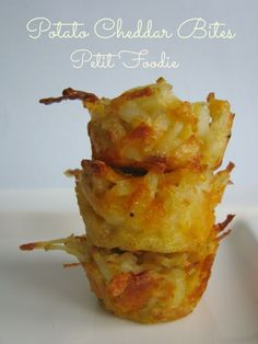 1 C potatoes, peeled and grated 1 egg ¼ C bread crumbs 3 T onion, chopped ½ C sharp cheddar cheese ½ tsp salt ¼ tsp pepper Preheat oven to 400*. Spray a mini muffin tin with non-stick spray. Combine all ingredients in a bowl. Spoon one table spoon of potato mixture into each mini muffin. Bake for 18 minutes until tops are just golden brown. by sonia