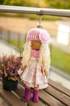 Rag doll, cloth doll, fabric doll, pink hand knited hat, white, pink,  dress, present for a girl, birthday present, handmade doll