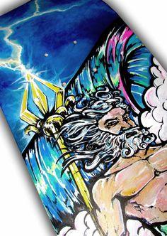 Neptune Poseidon Skateboard Painting