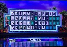 Wheel of Fortune Philadelphia Eagles Super Bowl, Philadelphia Sports, Go Eagles, Fly Eagles Fly, Nfc East Champions, Superbowl Champions, Eagles Poster, Super Bowl 52, Wheel Of Fortune