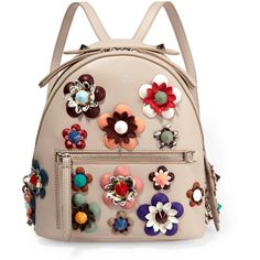 Fendi Zaino floral-appliquéd leather backpack (€2.515) ❤ liked on Polyvore featuring bags, backpacks, backpack, bags new, handbags, сумки, neutrals, floral print backpack, fendi bags and leather rucksack