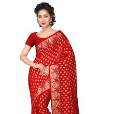 Red Pure Katan Silk Banarasi Saree With Blouse