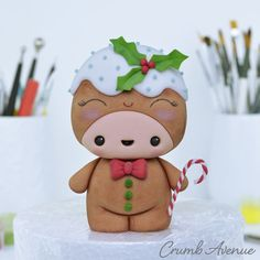 Cute Gingerbread Man by Crumb Avenue Fondant Figures, Kawaii Cookies, Biscuit, Friends Cake, Icing Techniques, Animal Cupcakes, Fondant Animals, Cake Topper Tutorial, Wedding Cakes With Flowers