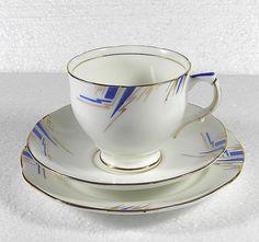 "Art Deco JAS I Taylor ""Royal Dawn"" Pattern Fine Bone China cup & saucer trio set"
