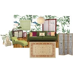 Zen Room by vonda-brooks on Polyvore featuring interior, interiors, interior design, home, home decor, interior decorating, Emerson Bentley, Ethan Allen, Bob Collins & Sons and Umi