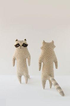 :: Crafty :: Doll ::  Animalia ~ Beige and gray raccoon softie toy Small woodland by WoodlandTale