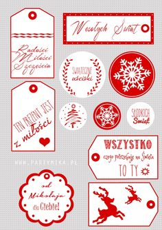 Etykietki do prezentów świątecznych - partymika Christmas Presents, Christmas Cards, Merry Christmas, Christmas Decorations, Holiday Decor, Holidays And Events, Diy Gifts, Advent, Origami
