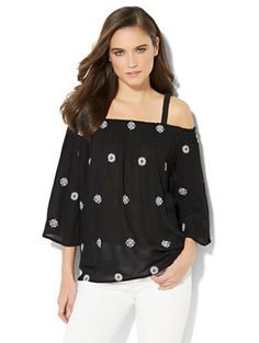 Shop Cold-Shoulder Embroidered Blouse. Find your perfect size online at the best price at New York & Company.