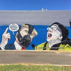 Beautiful BaneTrump graffiti in Melbourne Australia