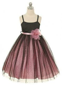 Black and pink tulle party dress 2-12 years (2210) Supplied by Justdresses.co.uk
