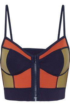 Duskii Zip Me Up paneled neoprene bustier bikini top | NET-A-PORTER