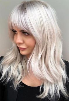 Find 59 examples of platinum blonde hair color shades to rock, as well as the best platinum hair dye kits to achieve the perfect icy hair at home! Platinum Blonde Hair Color, Silver Blonde Hair, Dyed Blonde Hair, Blonde Hair Bangs, Silver Platinum Hair, Brassy Blonde, Lilac Hair, Pastel Hair, Gray Hair